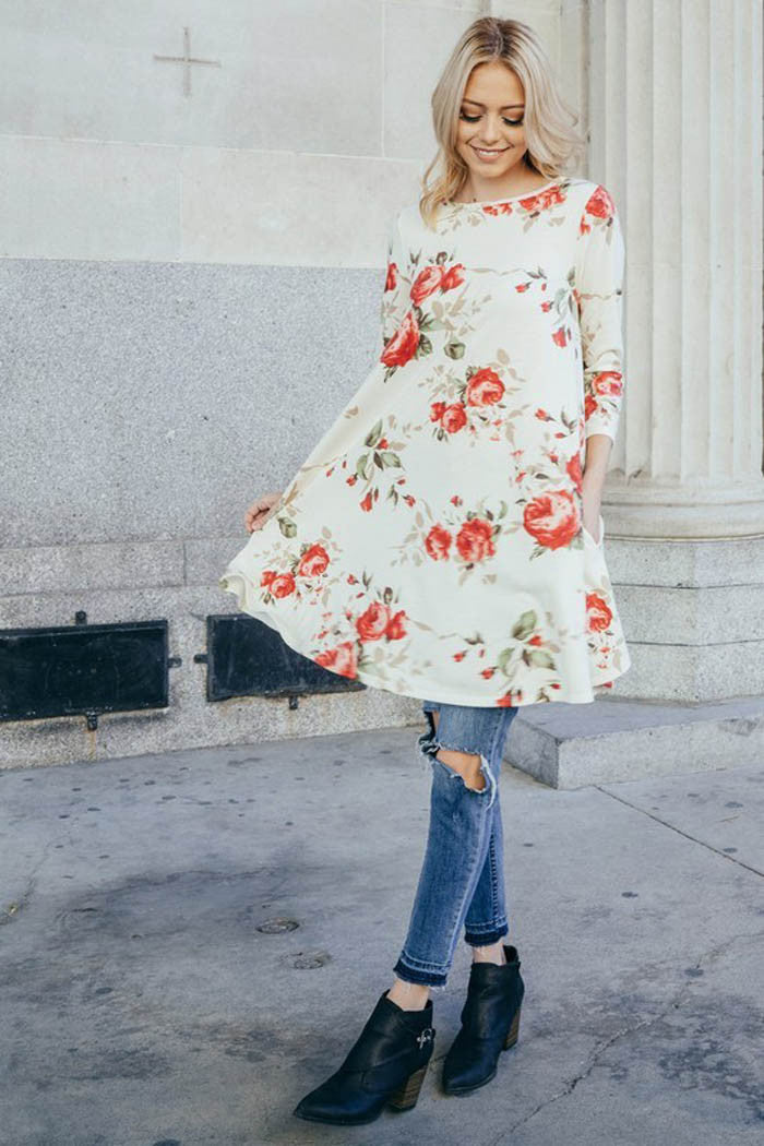 French Terry Floral Mini Dress : Ivory