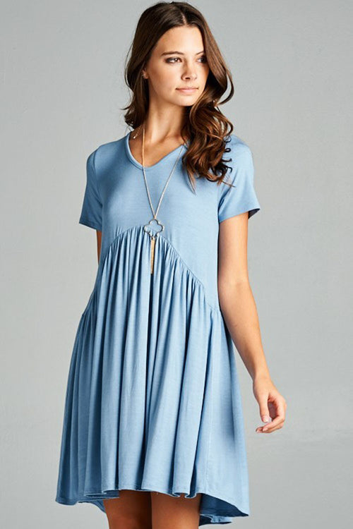 Solid Babydoll Mini Dress - Mini - GOZON