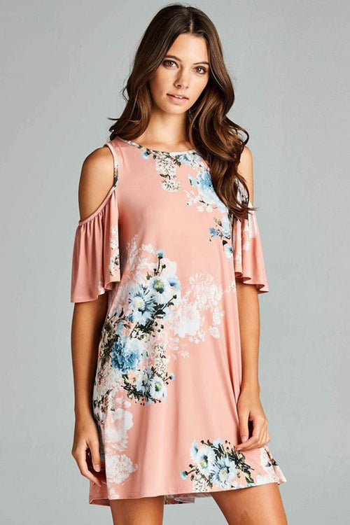 Romantic Floral Ruffle Dress - Mini - GOZON