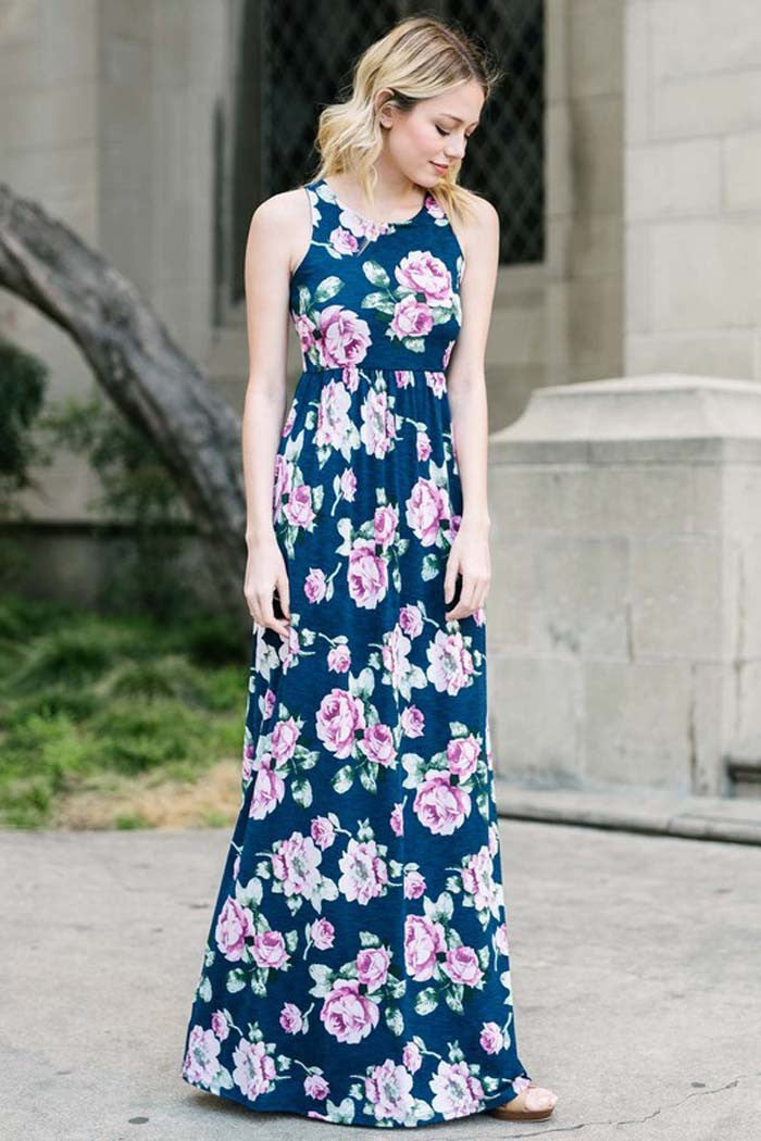 Floral Navy Maxi Dress - maxi - GOZON