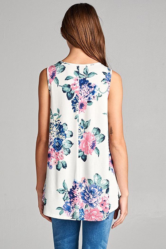 Floral With Ivory Tank Top - Shirts - GOZON