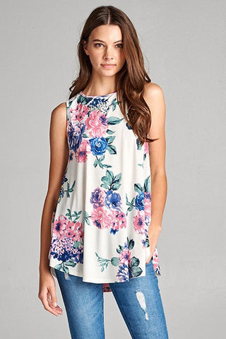 Floral With Ivory Tank Top