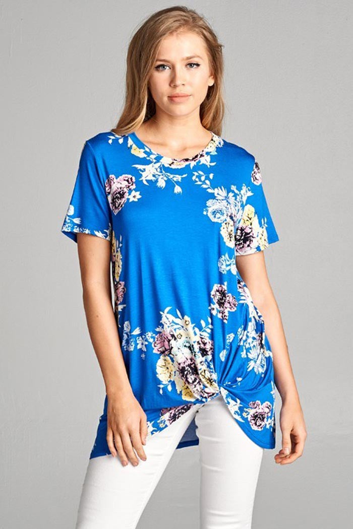 Side Knotted Floral Top - Shirts - GOZON