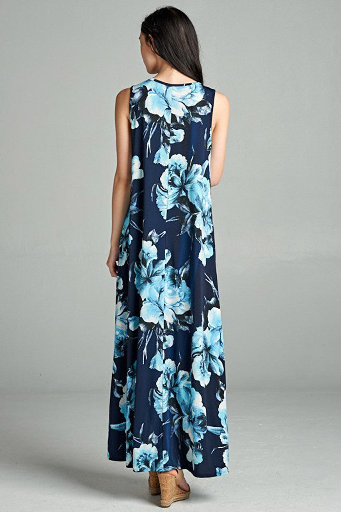 Blue Floral High-Low Maxi Dress - maxi - GOZON