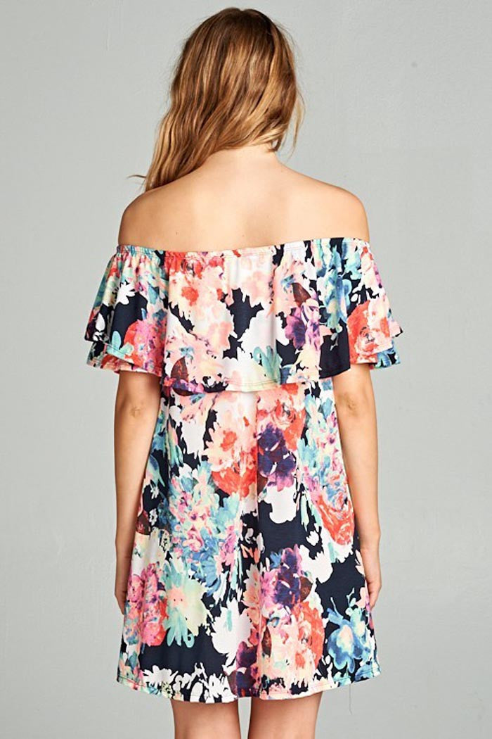 Multi Color Floral Off Shoulder Dress - Mini - GOZON