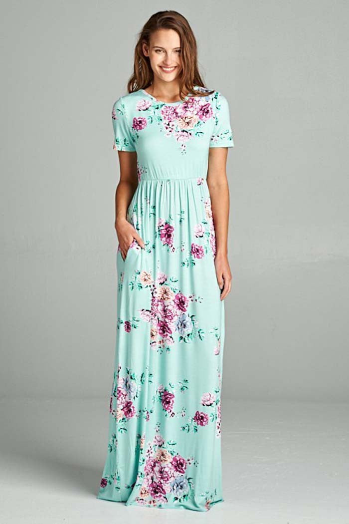 0312af59ed82f GOZON Women s Criss Crossed Back And Short Sleeve Floral Maxi Dress ...