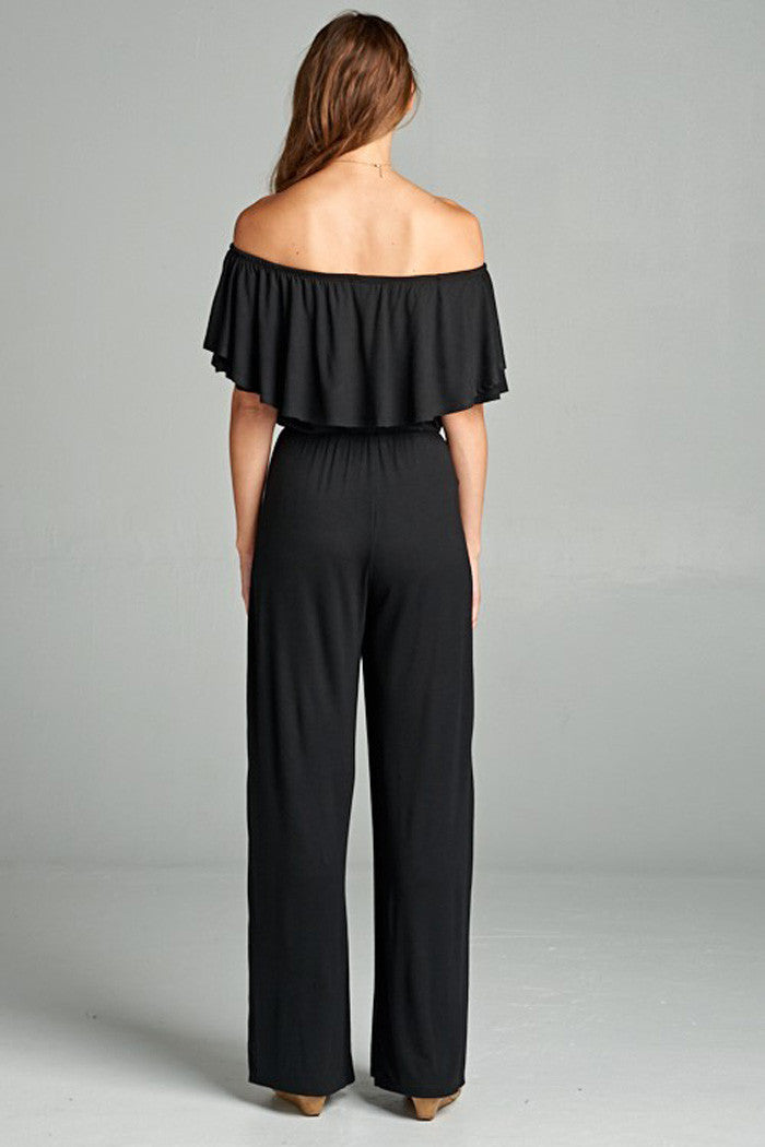 Solid Off Shoulder Jumpsuit - Rompers & Jumpsuits - GOZON
