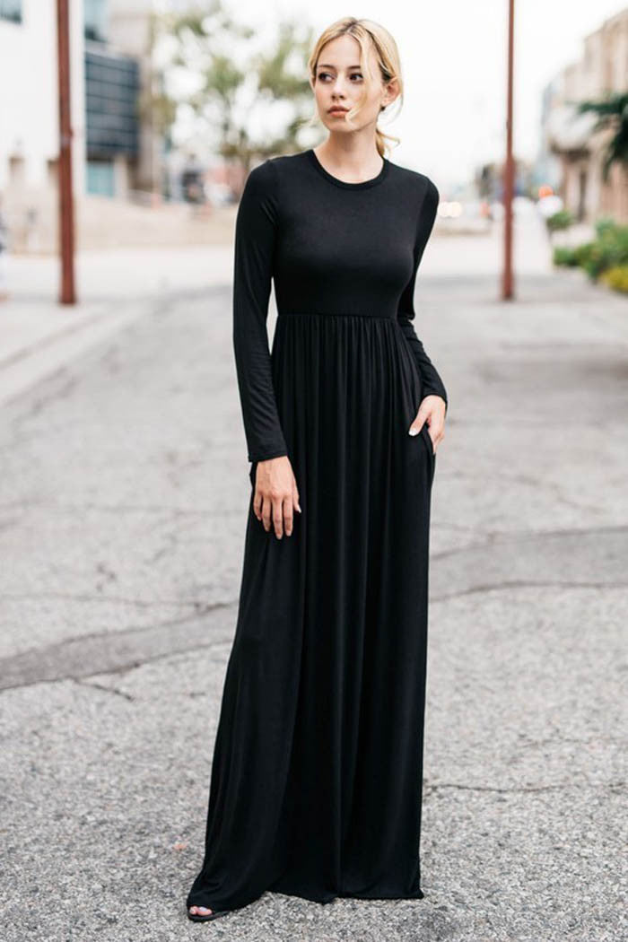 High Waist Solid Maxi Dress - maxi - GOZON