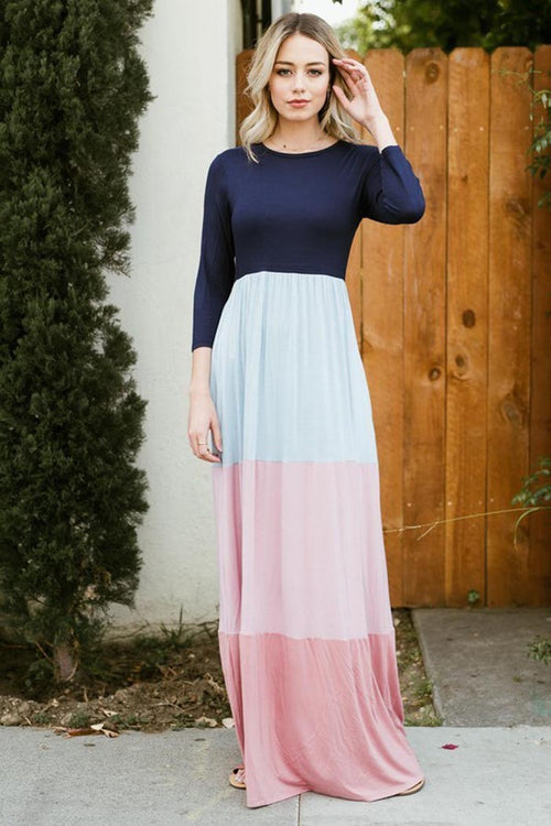 Pastel Color Block Maxi Dress - maxi-pre - GOZON