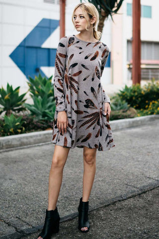 Casual Feather Midi Dress