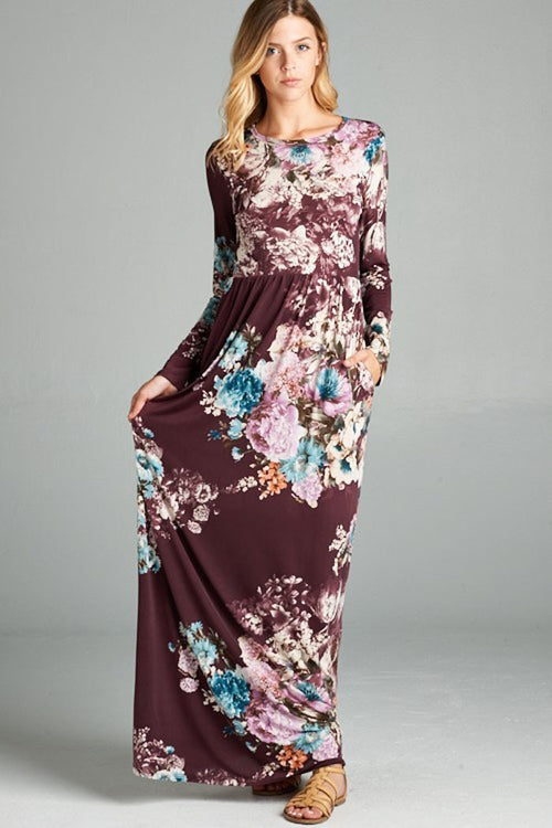 Long Sleeve Floral Maxi Dress : Plum