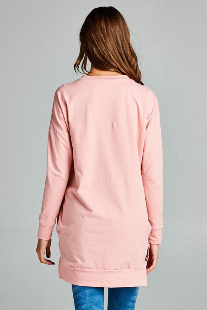 Basic Solid Tunic Top : Dusty pink