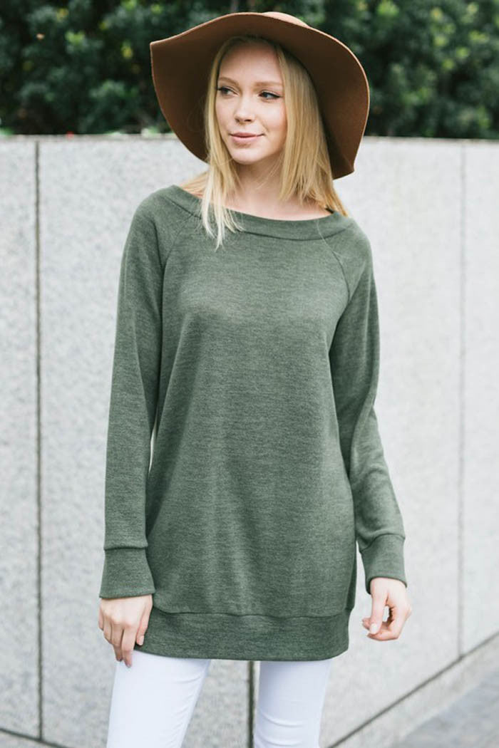 Loose Fit Solid Top : Olive