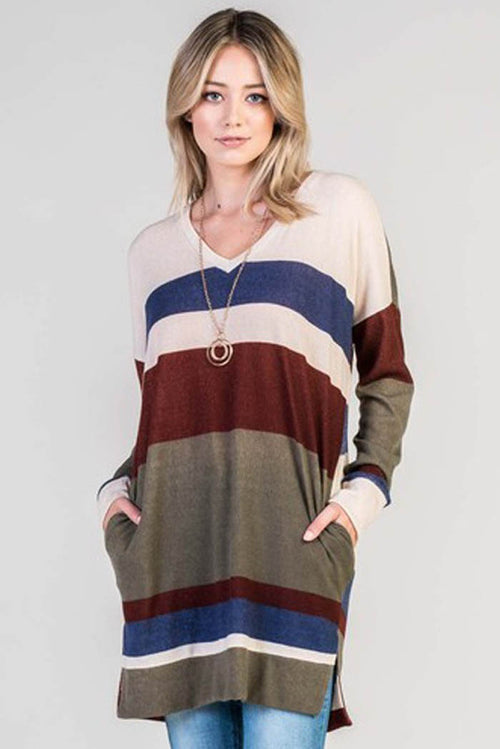 Multi Color Tunic Top - Olive/Burgundy
