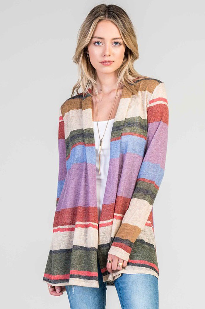 Color Block Cardigan - Purple/Blue