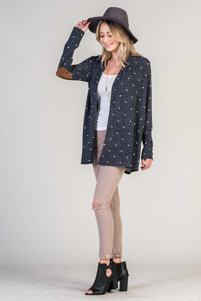 Polka Dot Sweater Cardigan - Navy