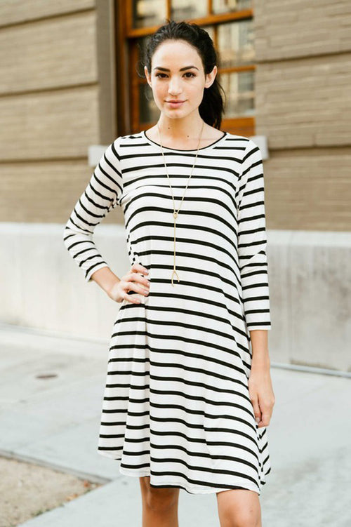 Daily Striped Swing Dress - Ivory/Black