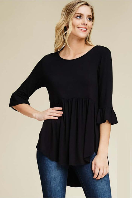 Cynthia Solid Hi-low Tunic Top : Black