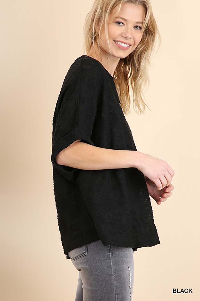 Brenna Dolman Slub Knit Top : Black