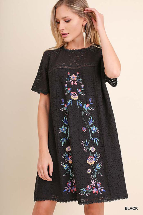 Carter Embroidered Dress : Black