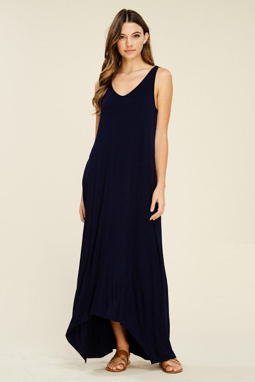 Melody V-Neck Maxi Dress : Black