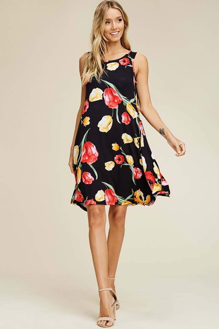 Paisley Floral Midi Dress : Black