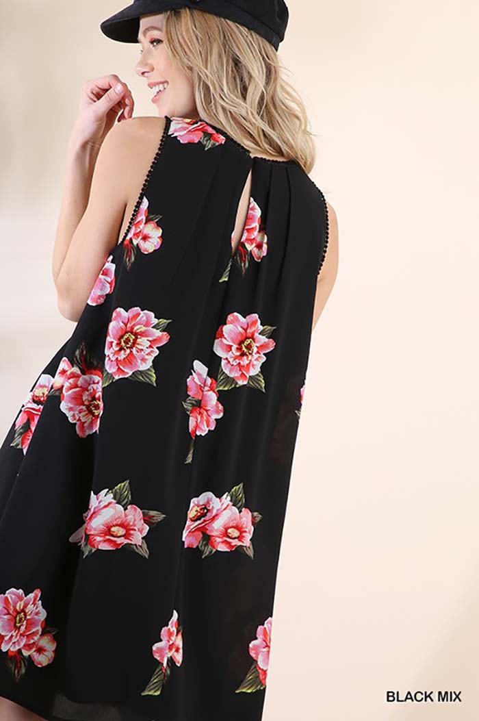Aileen Floral Dress : Black