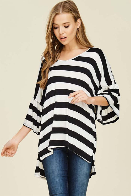 Yasmin V Neck Stripe Top : Black/Ivory