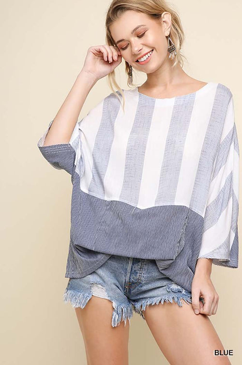 Serenity Stripe Dolman Top : Blue