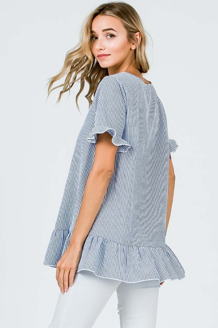 Naomi Open Neck Stripe Top : Blue