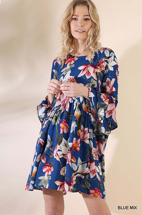 Julia Floral Babydoll Dress : Blue