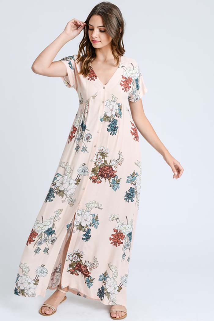 Emma Floral Button Down Maxi Dress : Mint