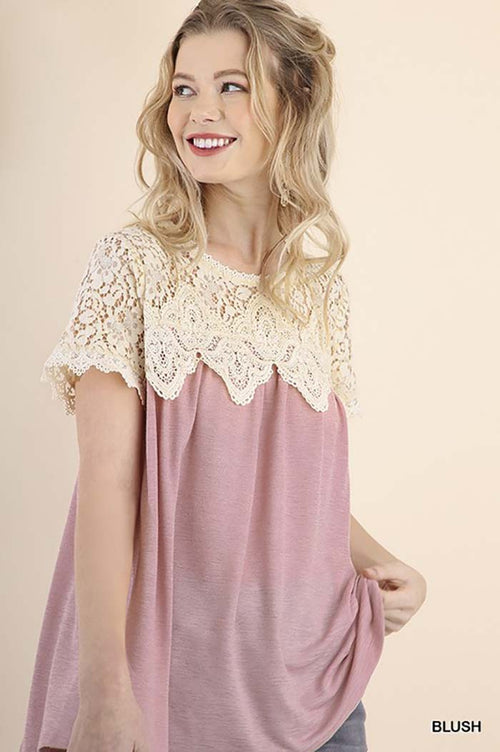 Emberly Lace Crochet Top : Blush