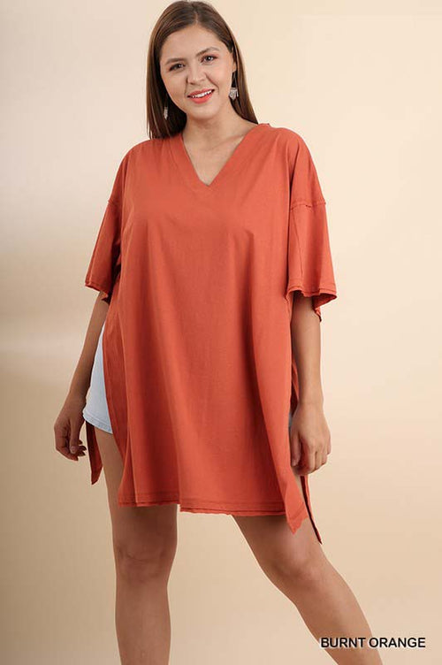 Charley Oversize V Neck Top Plus : Burnt Orange