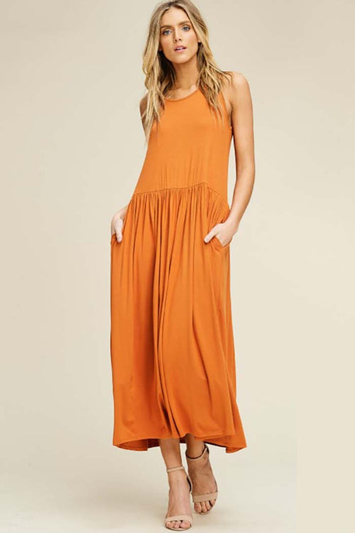 Khloe Solid Loose Knit Full Long Dress :  Burt Orange