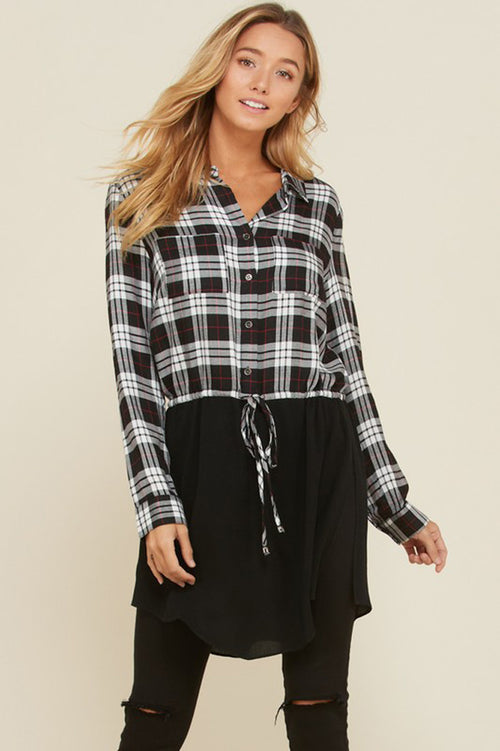 Beverly Collar Plaid Tunic Top : Black