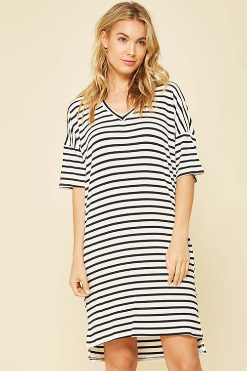 Marilyn Casual Stripe Dress : Black/White