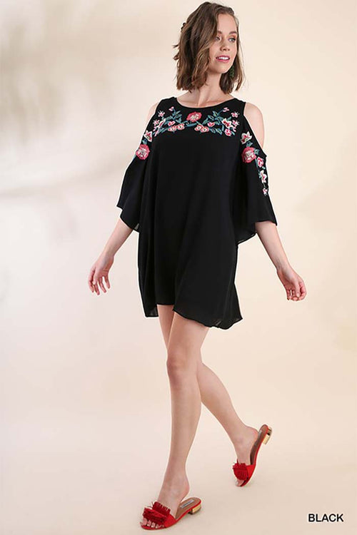 Charlotte Floral Embroidered Dress : Black