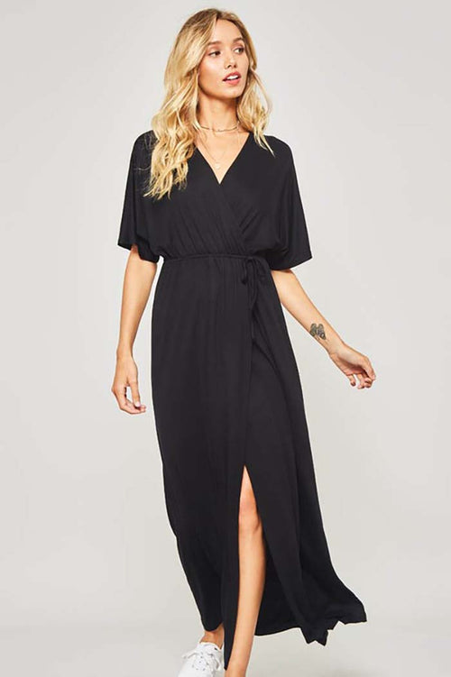 Skylar Wrap Maxi Dress : Black