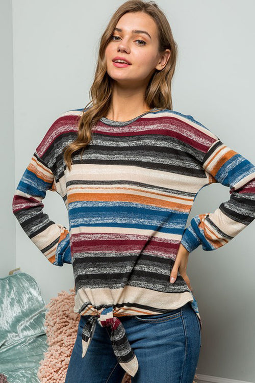 Sophie Multi Stripe Pullover Top : Black/Burgundy