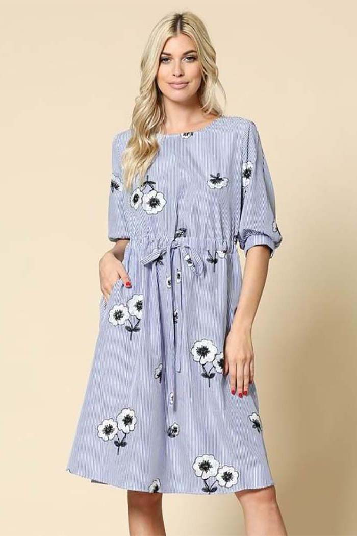 Eunice Flower Striped Dress : Blue
