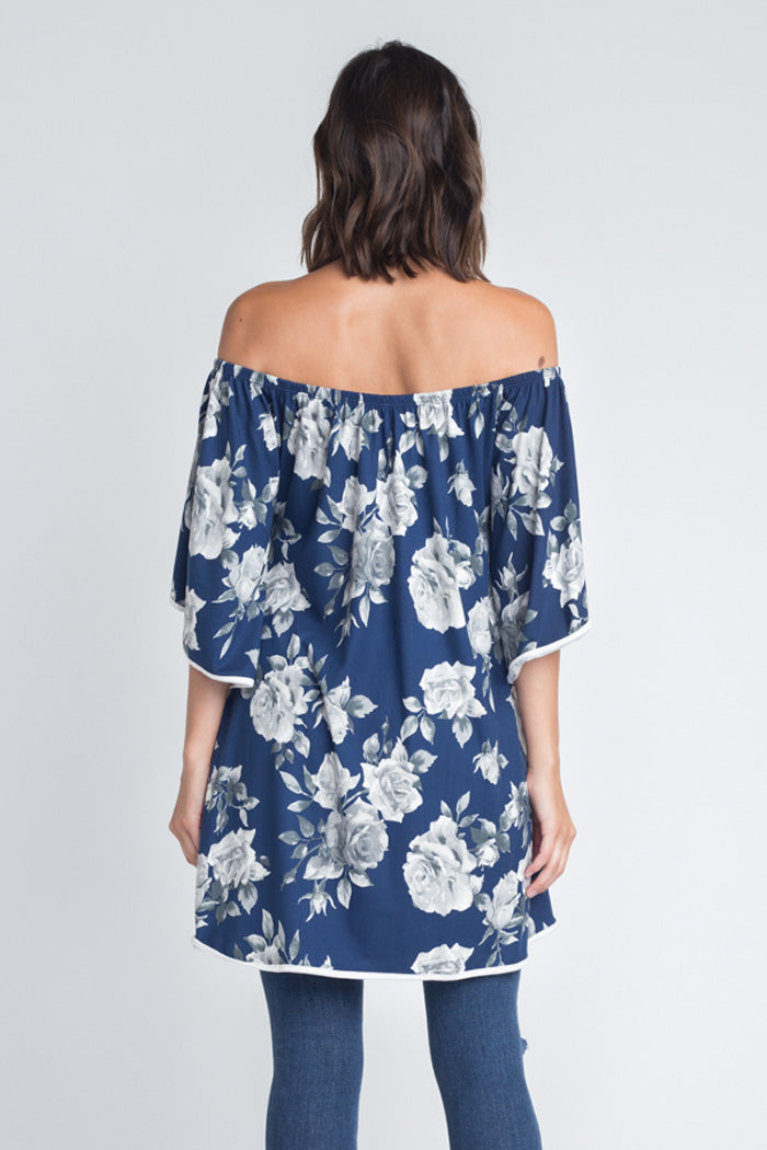 Brianna Floral Hi-Lo Top : Navy/Grey