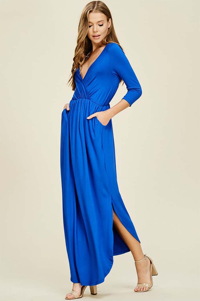 Jess 3/4 Sleeve Maxi Dress : Bright Royal