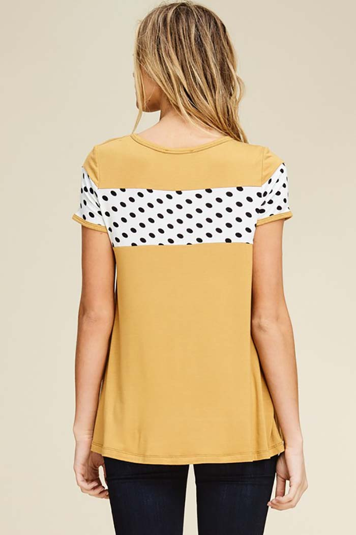 Dorothy Polka Dot Short Sleeve Top : Bronze