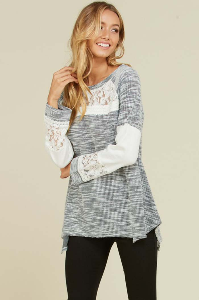 Evelyn Two-Tone Knit Top : Charcoal