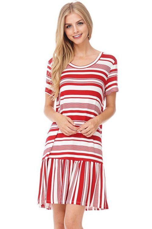 Casual Striped Swing Dress - midi - GOZON