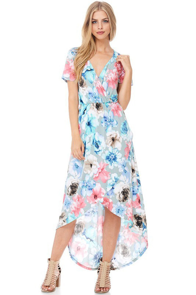 Wrapped Floral Dress - Maxi - GOZON