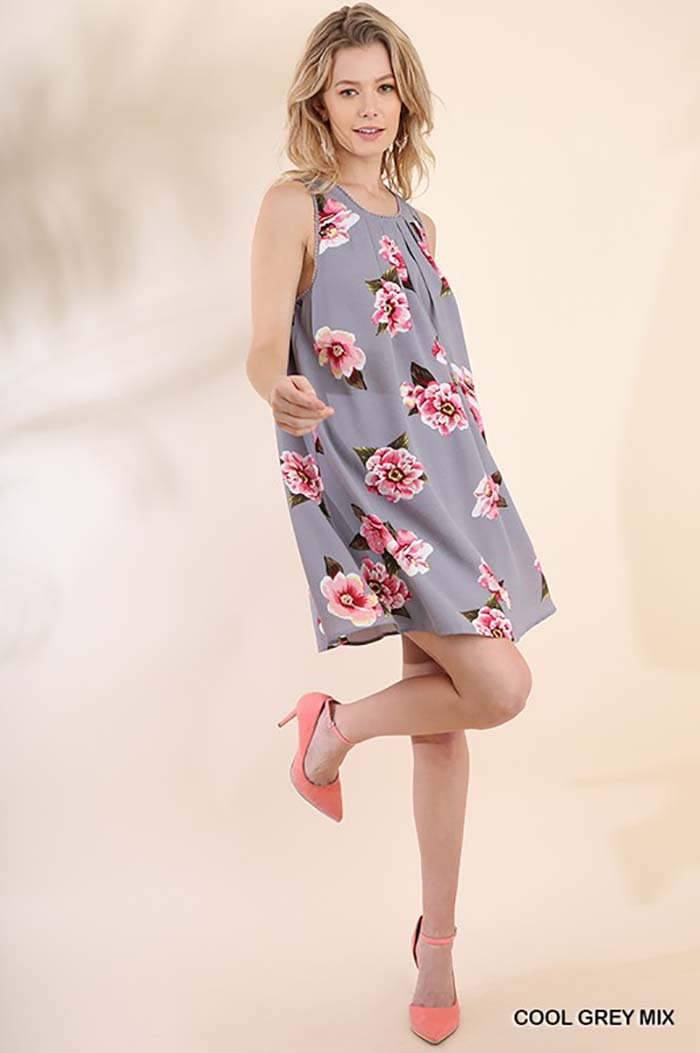 Aileen Floral Dress : Cool Grey