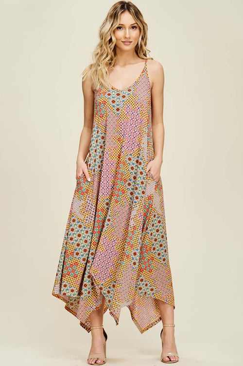 Paige Geometric Print Maxi Dress : Coral