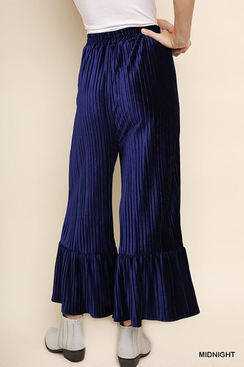 Carolyn Velvet Pleated Flare Pants : Midnight